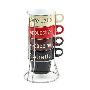 Conjunto de 4 Canecas de Café em Porcelana com Suporte Names 220 ml