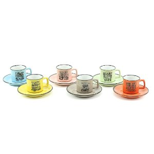 Conjunto de 6 Xícaras de Café em Cerâmica com Pires Words Coloridas 80 ml