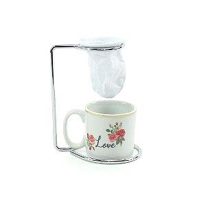 Kit Mini Caneca de Porcelana com Coador Romance Gold Love