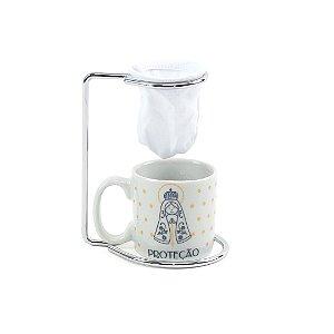 Kit Mini Caneca de Porcelana com Coador Vida Proteção