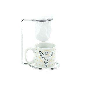 Kit Mini Caneca de Porcelana com Coador Vida Fé