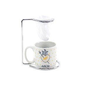 Kit Mini Caneca de Porcelana com Coador Vida Amor