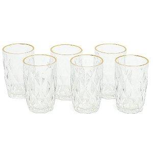Conjunto de 6 Copos de Vidro com Fio de Ouro Diamond Transparente