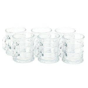 Conjunto de 6 Canecas de Vidro Vintage Transparente 245 ml