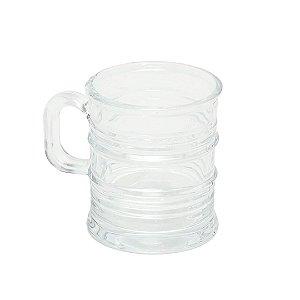 Caneca de Vidro Vintage Transparente 245 ml