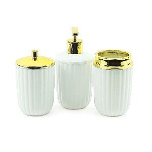 Kit de Banheiro com 3 Peças Branco Canelatta