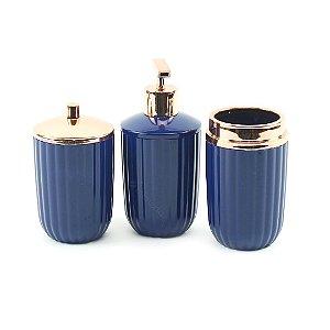 Kit de Banheiro com 3 Peças Azul Marinho Canelatta