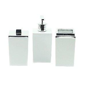 Kit de Banheiro com 3 Peças Branco Quadratta