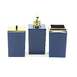 Kit de Banheiro com 3 Peças Azul Marinho Quadratta