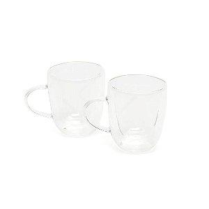 Conjunto de 2 Xícaras Parede Dupla para Chá em Vidro Borossilicato 200 ml