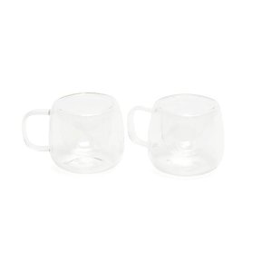 Conjunto de 2 Xícaras Parede Dupla para Café em Vidro Borossilicato 80 ml