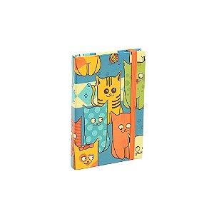 Caderninho Capa Dura com Elástico Cats Gang