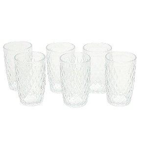 Conjunto de 6 Copos de Vidro Bico de Abacaxi Transparente