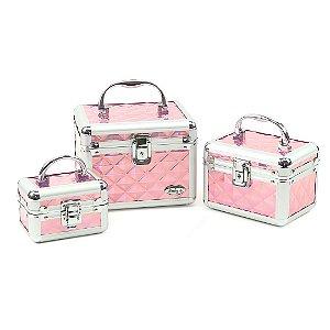 Kit com 3 Maletas de Maquiagem Cristal Rosa Holográfico