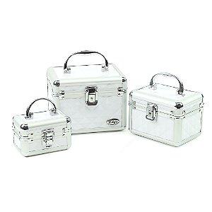 Kit com 3 Maletas de Maquiagem Cristal Branco com Prata