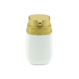 Porta Sabonete Líquido Branco com Dourado Fosco Conceito