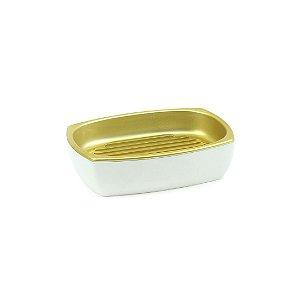 Saboneteira Branco com Dourado Fosco Conceito