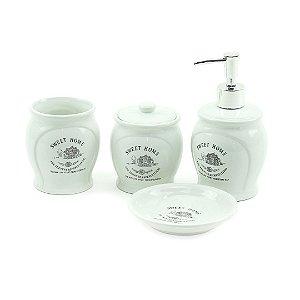 Conjunto de 4 Peças para Banheiro em Cerâmica Sweet Home