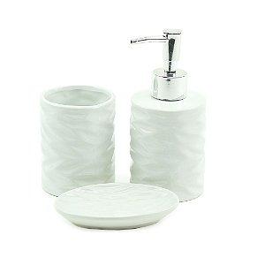 Conjunto de 3 Peças para Banheiro em Cerâmica Cannes Branco