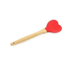 Colher de Silicone com Cabo em Bambu Vermelha Heart