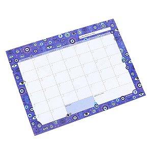 Bloco Planner Mensal Olho Grego Azul