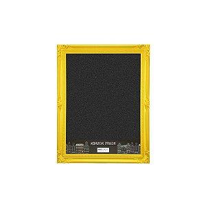 Quadro Negro com Moldura Vintage Amarela 30x40