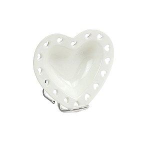 Porta Joias de Cerâmica Fundo de Coração Branco Pequeno