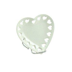 Porta Joias de Cerâmica Raso Coração Branco Pequeno