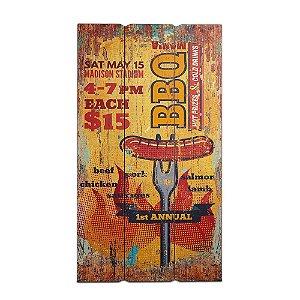 Placa Decorativa de Madeira BBQ laranja 30x60