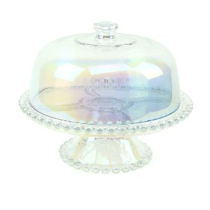 Prato para Bolo em Cristal com Tampa Pearl Rainbow