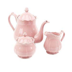 Conjunto de 3 Peças de Porcelana para Chá Fancy Rose