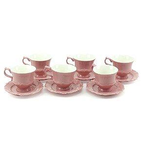 Conjunto de 6 Xícaras de Chá em Porcelana com Pires Fancy Rose
