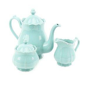 Conjunto de 3 Peças de Porcelana para Chá Fancy Menta