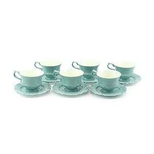 Conjunto de 6 Xícaras para Café em Porcelana com Pires Fancy Menta