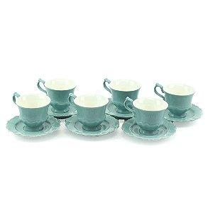 Conjunto de 6 Xícaras de Chá em Porcelana com Pires Fancy Menta