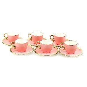 Conjunto de 6 Xicaras de Chá em Porcelana Egg Rosa Matt