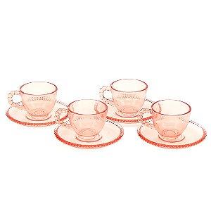 Conjunto de 4 Xícaras de Café Cristal de Chumbo com Pires Pearl