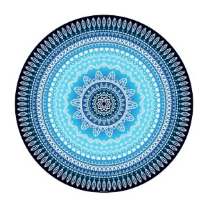 Manta Mandala Aveludada Azul Degradê
