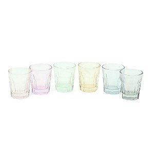 Conjunto de 6 Copos de Vidro Color
