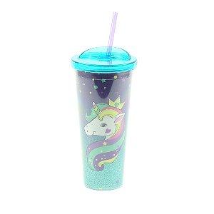 Copo com Canudo e Glitter Unicórnio Estelar 650 ml