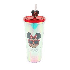 Copo com Canudo Holográfico Minnie Emoji 650 ml