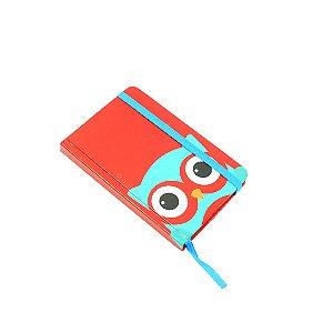 Caderninho de Anotações com Pauta Coruja Azul