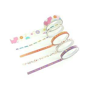 Kit Fitas Adesivas Washi Tape Love com 5 Unidades Flores Branca