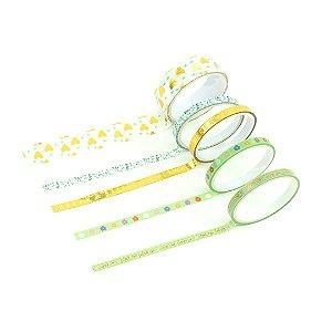 Kit Fitas Adesivas Washi Tape Love com 5 Unidades Corações
