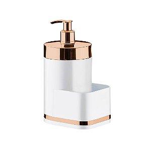 Dispenser Porta Detergente para Pia Eleganza Branco em Aço Carbono Rose Gold