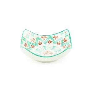 Mini Bowl de Cerâmica Quadrado Verde e Vermelho