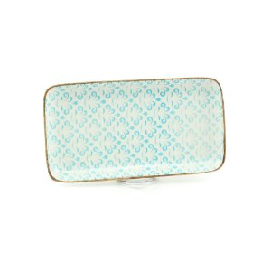 Bandeja de Cerâmica Retangular Azul Claro
