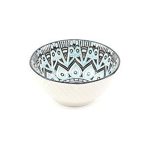 Bowl de Cerâmica Tribal Azul Claro e Marrom Pequeno