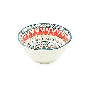 Bowl de Cerâmica Tribal Verde e Vermelho Pequeno