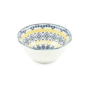 Bowl de Cerâmica Mandala Azul e Amarela Pequeno